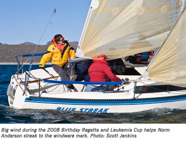 Big wind during the 2008 Birthday Regatta and Leukemia Cup helps Norm Anderson streak to the windware mark.