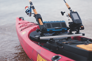 The Fusion is a multi-function music station with secure storage, charging, and several ways to access your music while on the water.