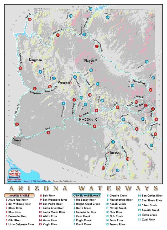 Map Of Arizona Rivers.Arizona Rivers And Streams Azbw