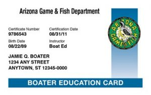 Boating Safety BOATING COURSE CARD